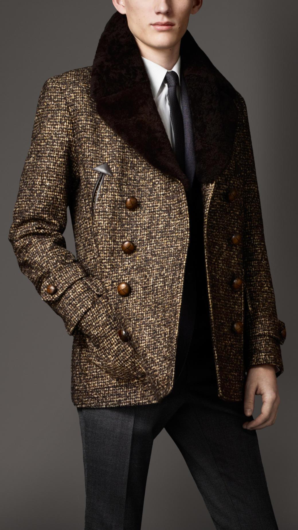 Lyst Burberry Shearling Collar Tweed Pea Coat In Brown