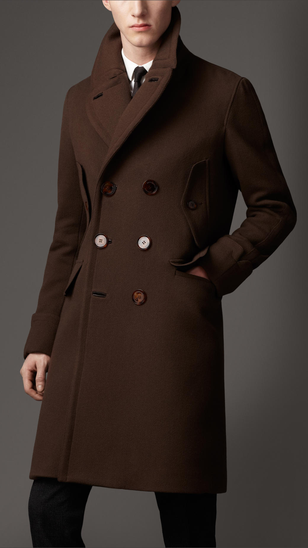 Burberry Tailored Top Coat in Brown for Men | Lyst