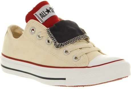 Converse All Star Ox Low Double Tongue Ecrunavyred Smu in Beige for Men (navy)