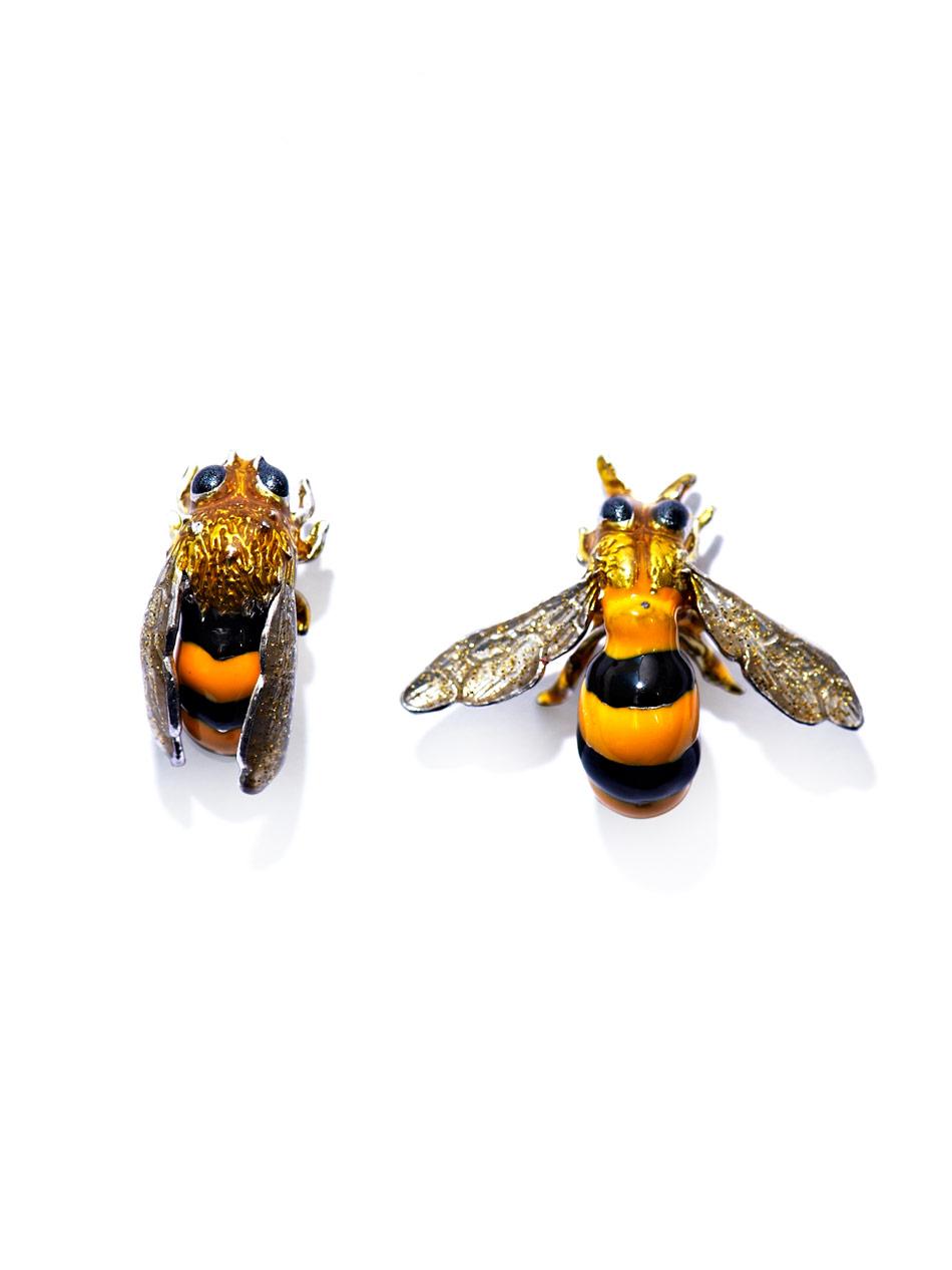 Delfina Delettrez Sterling Silver Bee Earrings In Yellow