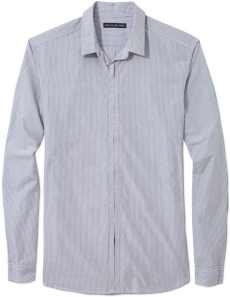 Dkny Hidden Placket Shirt In Gray For Men Lyst