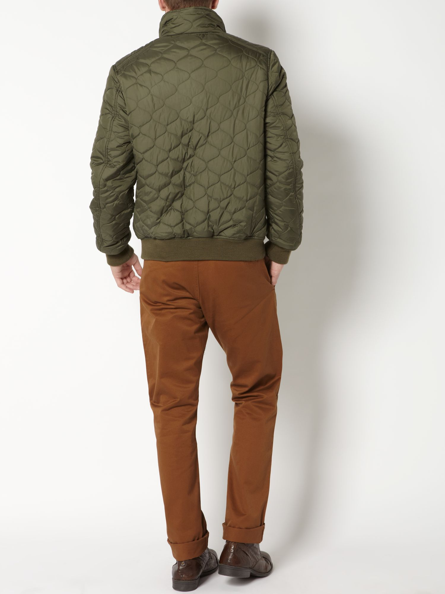Dockers Nylon Quilted Bomber Jacket in Green for Men | Lyst