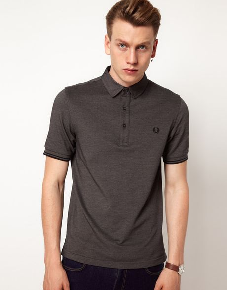 fred perry polo slim fit oxford collar in gray for men. Black Bedroom Furniture Sets. Home Design Ideas