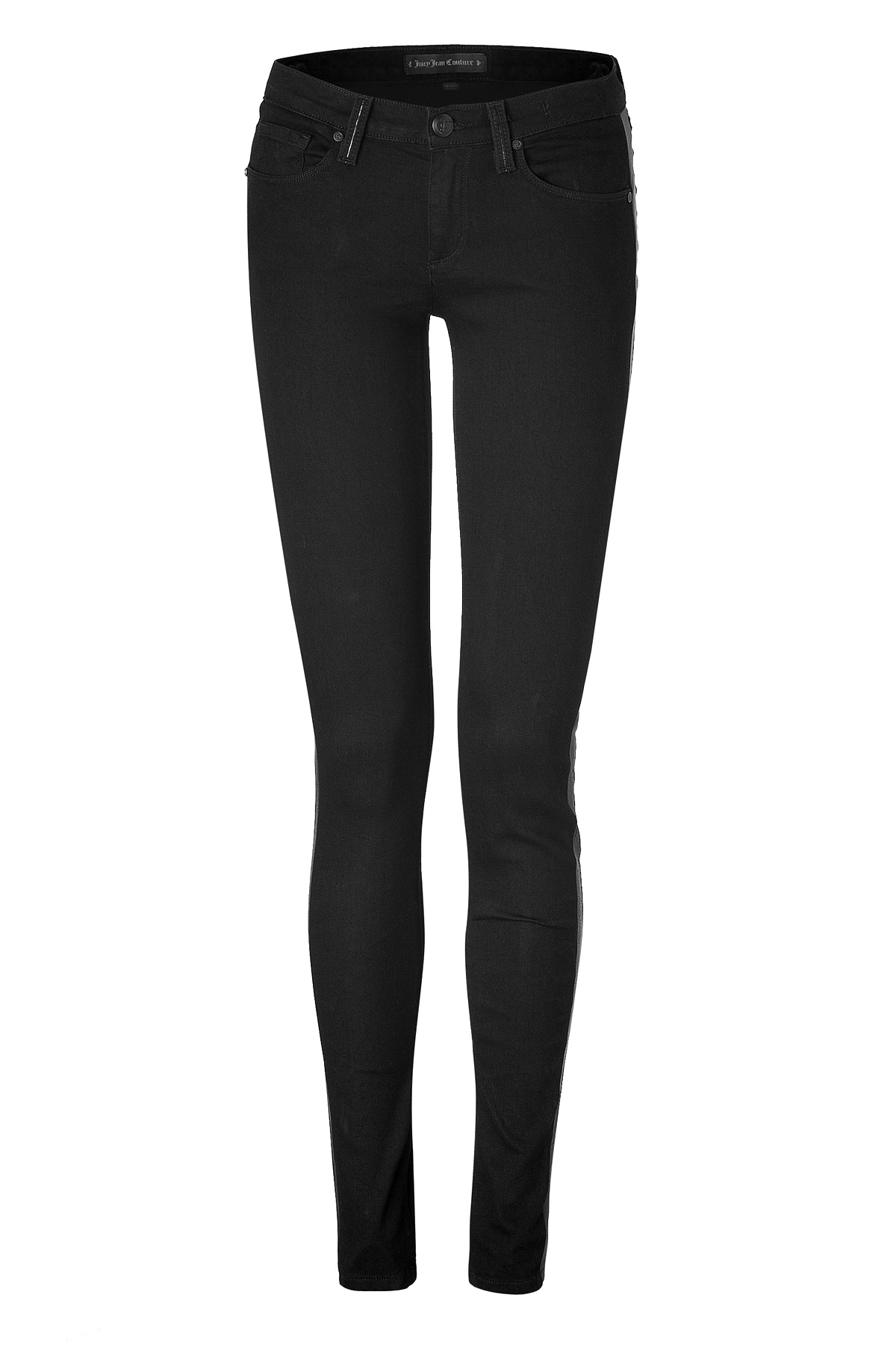 Juicy Couture Black Leather Inset Lila Skinny Jeans In