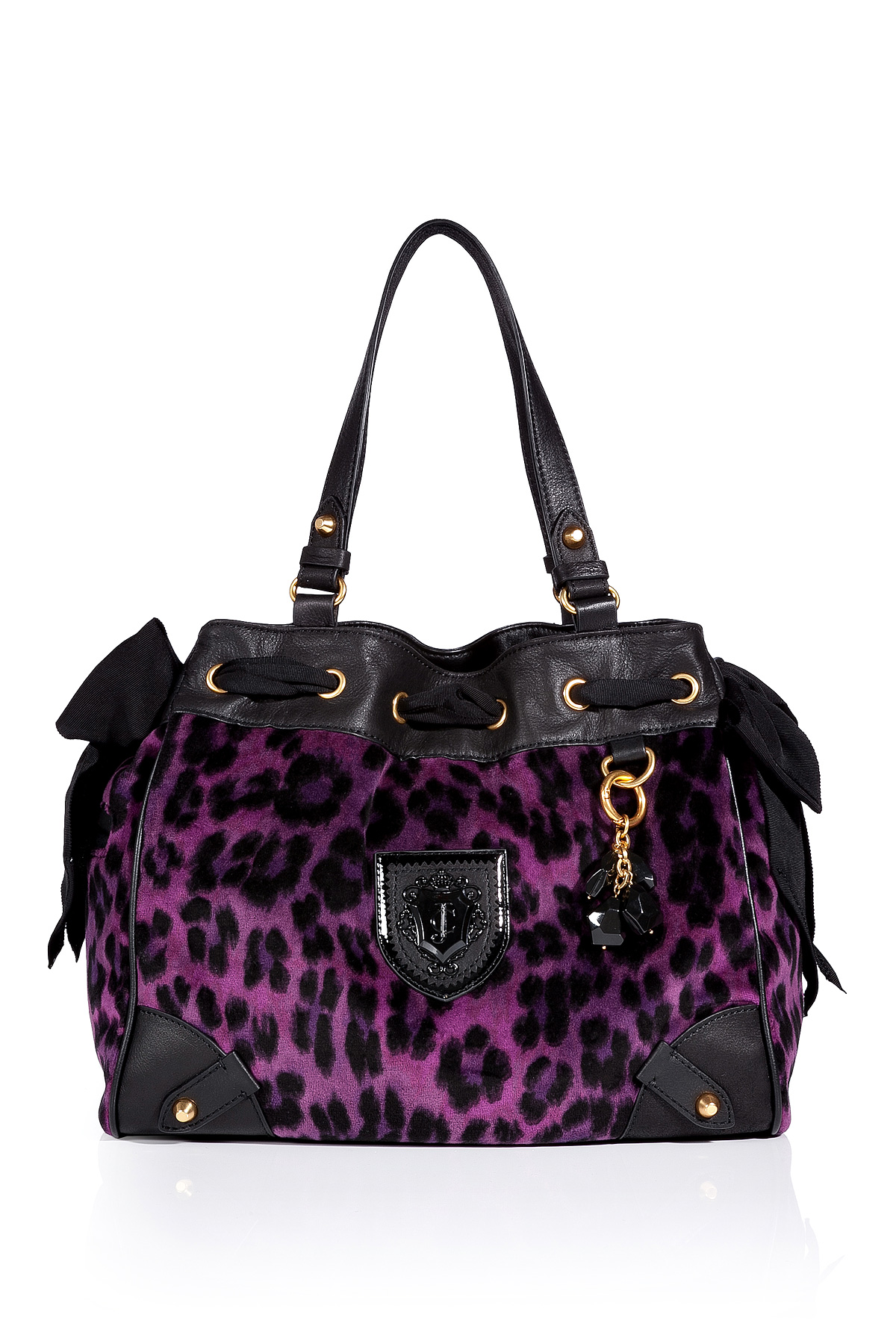 Juicy Couture Purple Leopard Velour Daydreamer Bag In