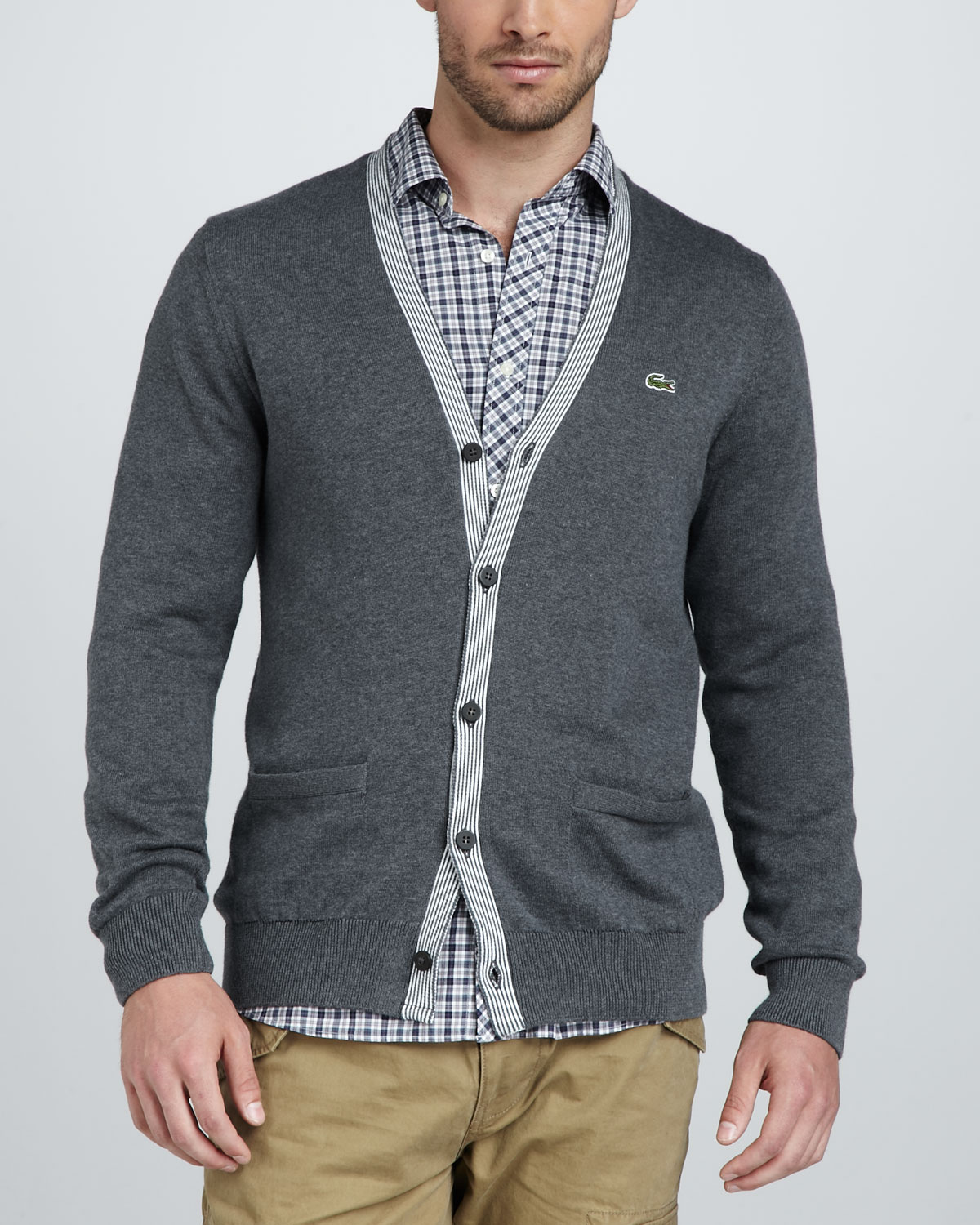22a51aad599 ... lacoste gray white stripetrim cardigan product