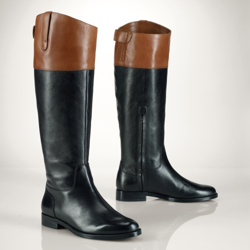Lauren by ralph lauren Vachetta Twotone Riding Boot in Black | Lyst