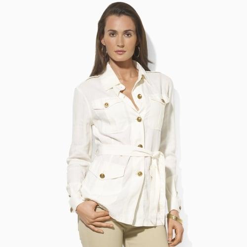 Lyst Lauren By Ralph Lauren Belted Linen Safari Jacket