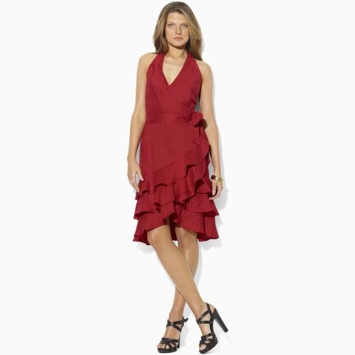 Ralph lauren red ruffle dress