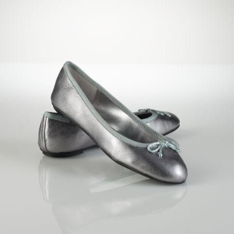 lauren by ralph lauren amarissa leather ballet flat in silver lyst. Black Bedroom Furniture Sets. Home Design Ideas