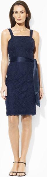 Lauren By Ralph Lauren Lace Sheath Dress In Blue Webster