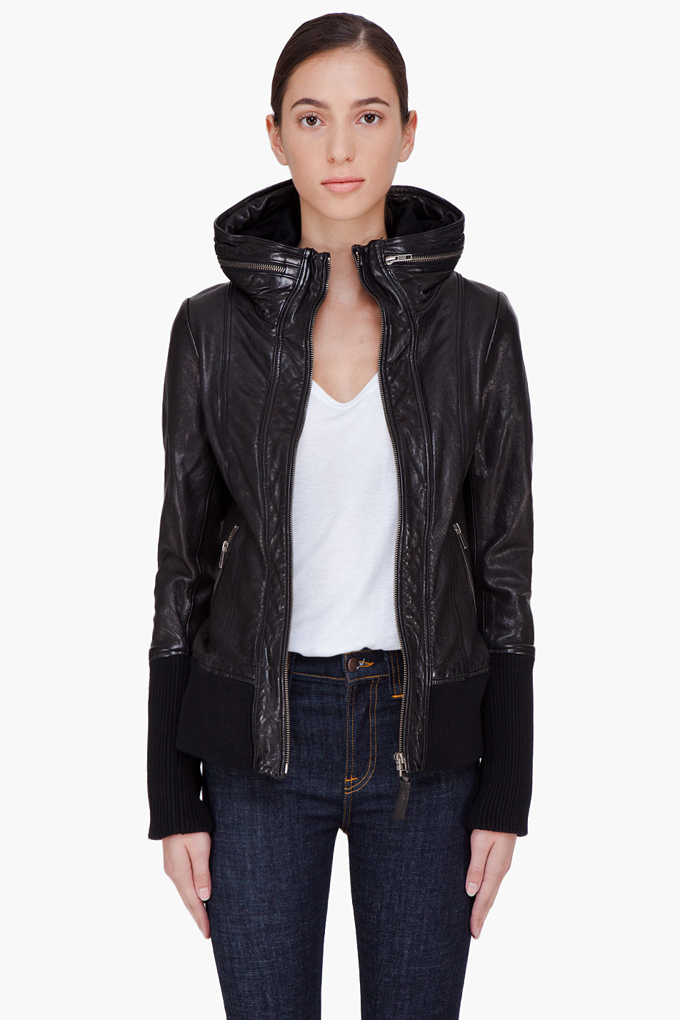 Lyst - Mackage Black Hooded Leather Jacket in Black