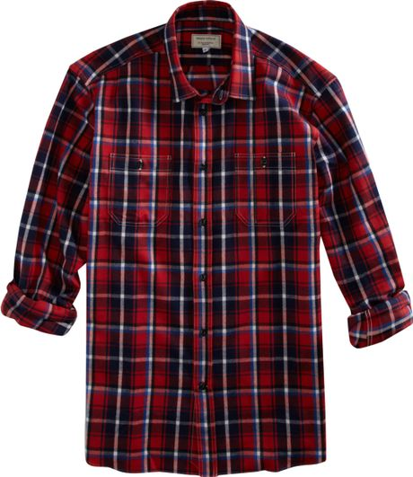 Maison Kitsun Classic Plaid Flannel Shirt In Red For Men