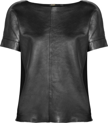 Maje Metallic Leather and Stretchcotton Top in Gray (graphite)