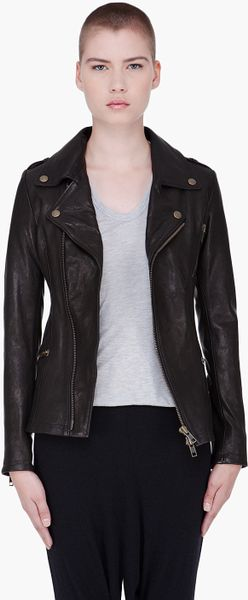 Mcq By Alexander Mcqueen Black Hip Leather Biker Jacket in Black - Lyst