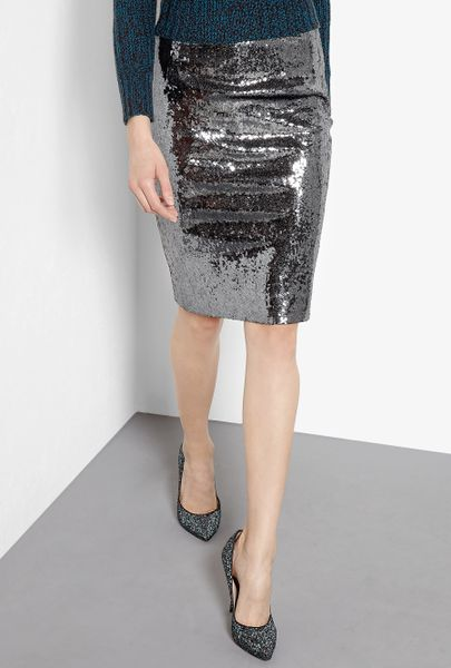 Moschino Cheap & Chic Sequin Pencil Skirt in Black