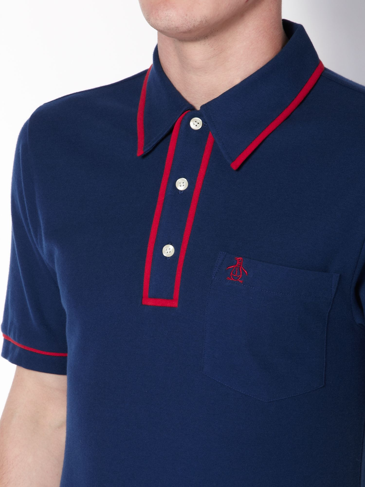 Original Penguin Regular Fit Contrast Tipped Polo Shirt in Blue for Men