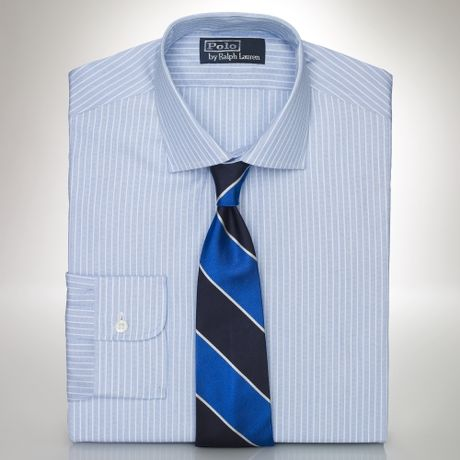Mens White Dress Shirts on Custom Fit Endonend Stripe Shirt In Blue For Men  Blue White    Lyst