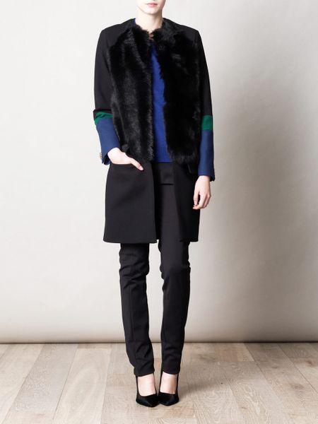 Preen Zora Scuba Wool and Sheep Skin Coat in Black
