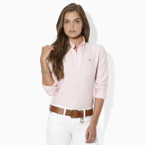 2e3995cd1c ... best lyst ralph lauren blue label striped oxford shirt in pink c2fe0  0951b