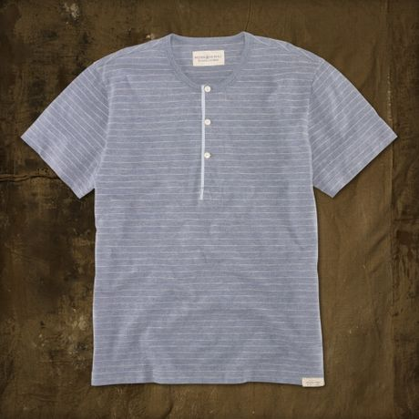 Ralph Lauren Yarndyed Striped Henley in Gray for Men (light blue cream stripe)