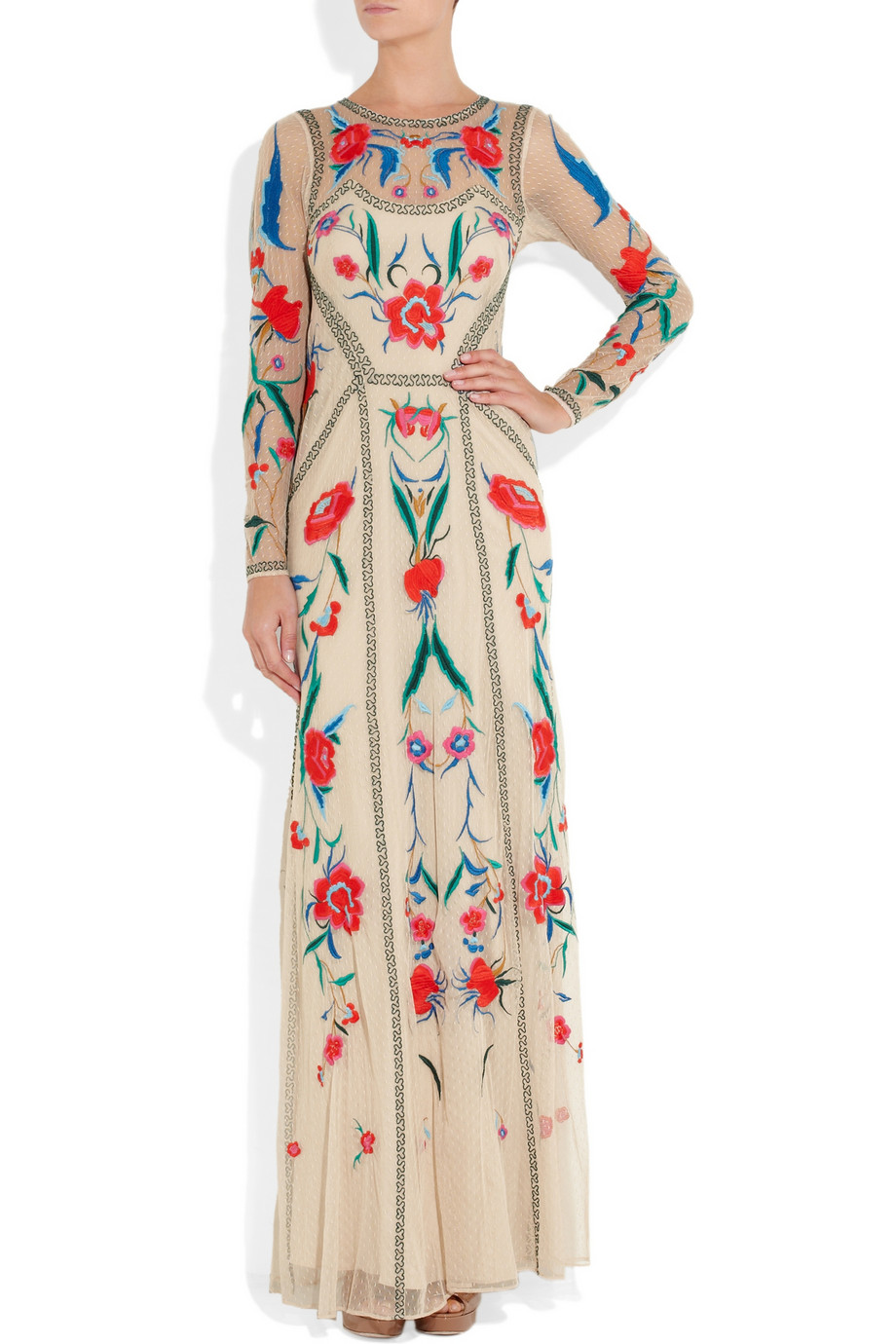Temperley London Long Eliah Flower Show Dress In Cream