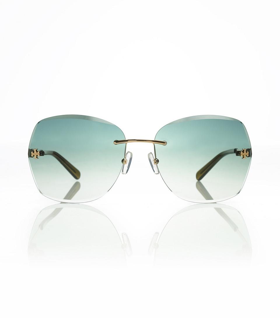 f0232121ec8d Tory Burch Rimless Frontlogo Sunglasses in Blue - Lyst