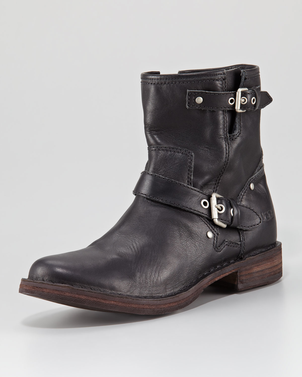 Ugg Fabrizia Leather Motorcycle Boot In Black Lyst