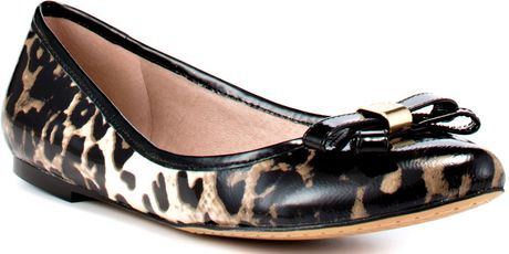 Vince Camuto Timba Mu Cow Patent Flats in Animal (multi leopard)