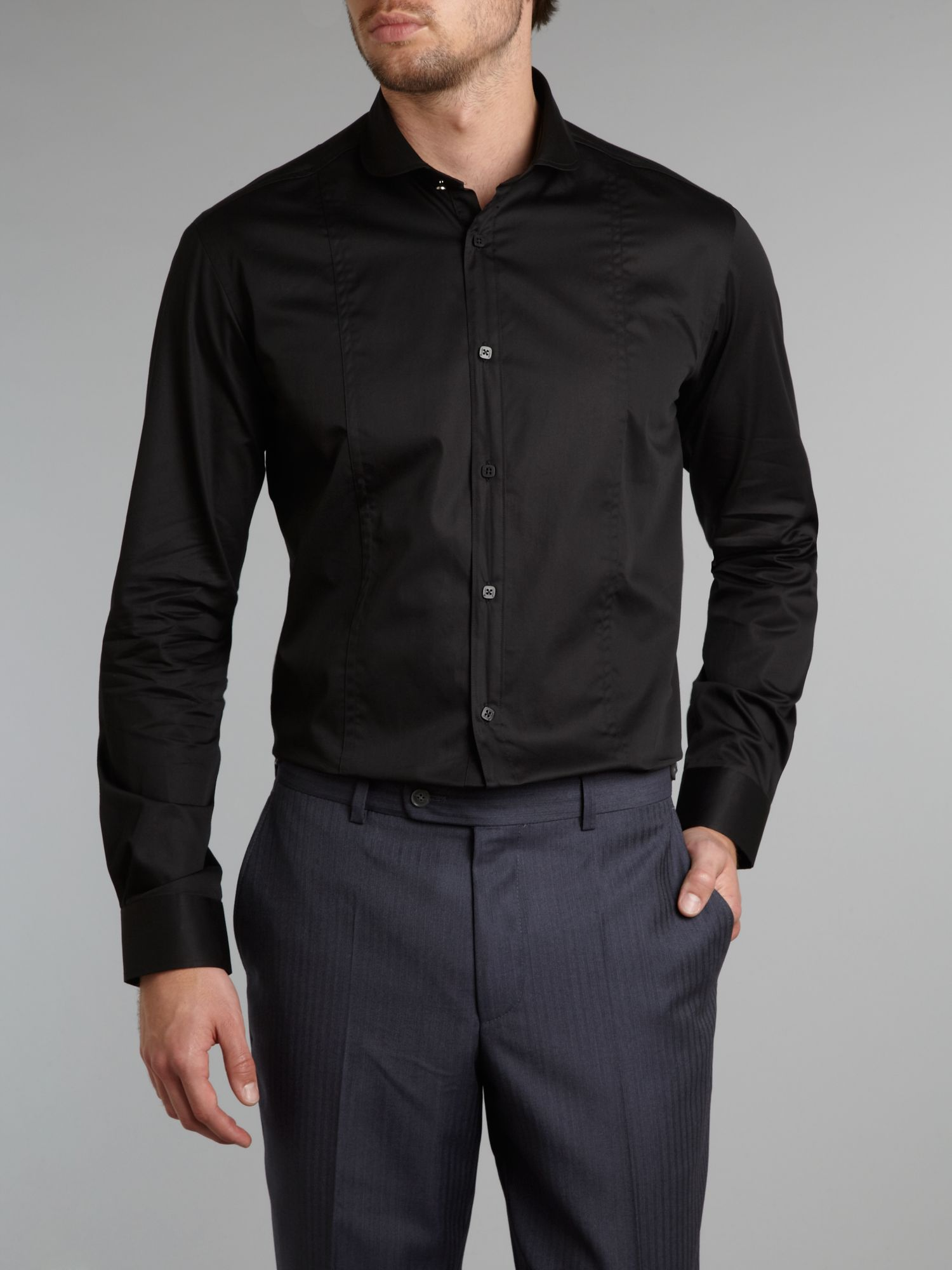 Without Prejudice Long Sleeve Penny Collar Formal Shirt In