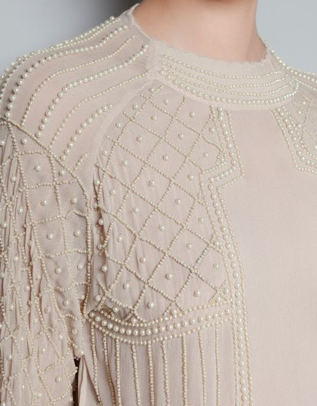 Zara Pink Embroidered Blouse With Pearls 119