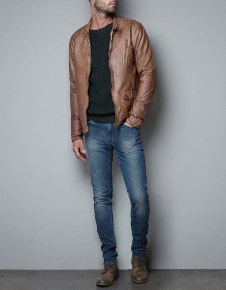 pocket leather jacket brown dark brown leather field jacket by