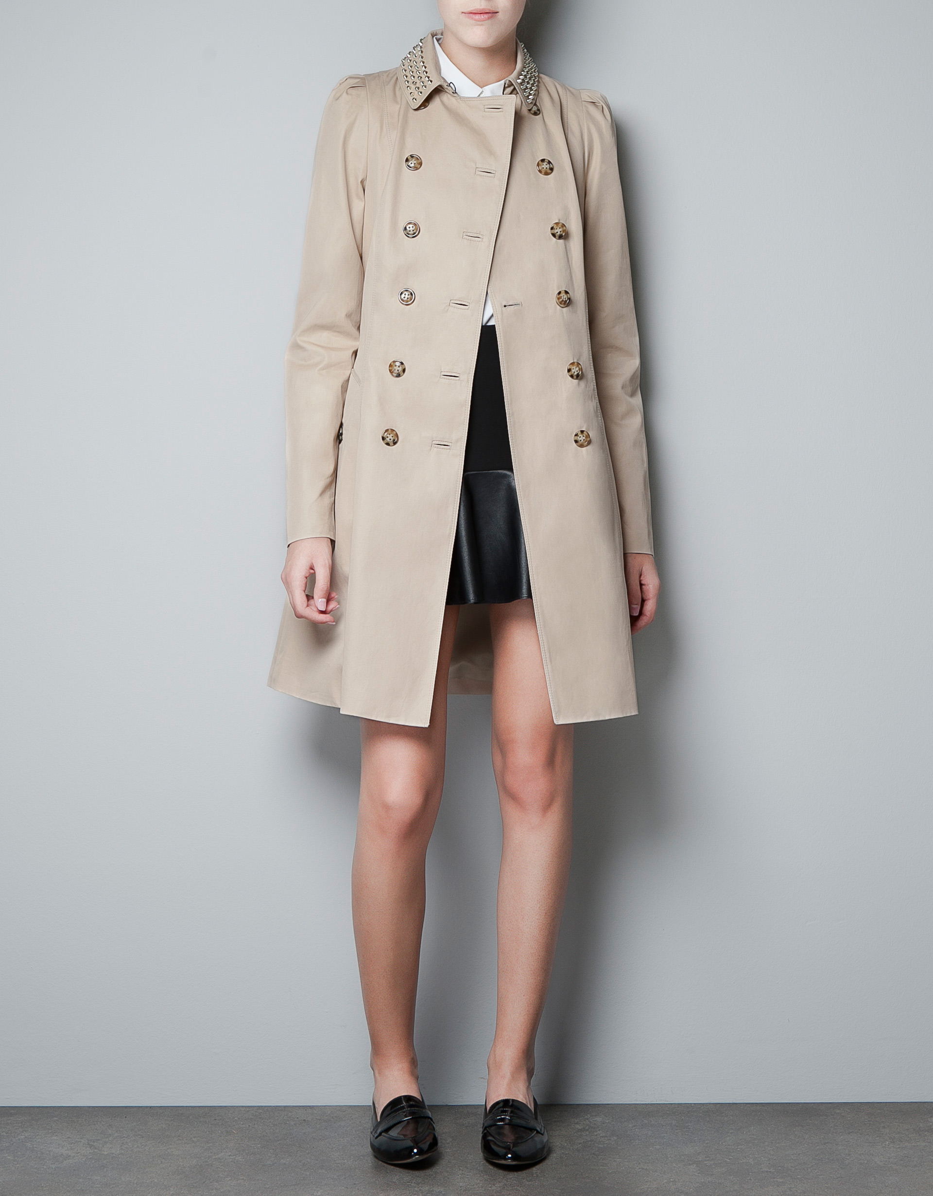 zara trenchcoat with studded collar in natural lyst. Black Bedroom Furniture Sets. Home Design Ideas