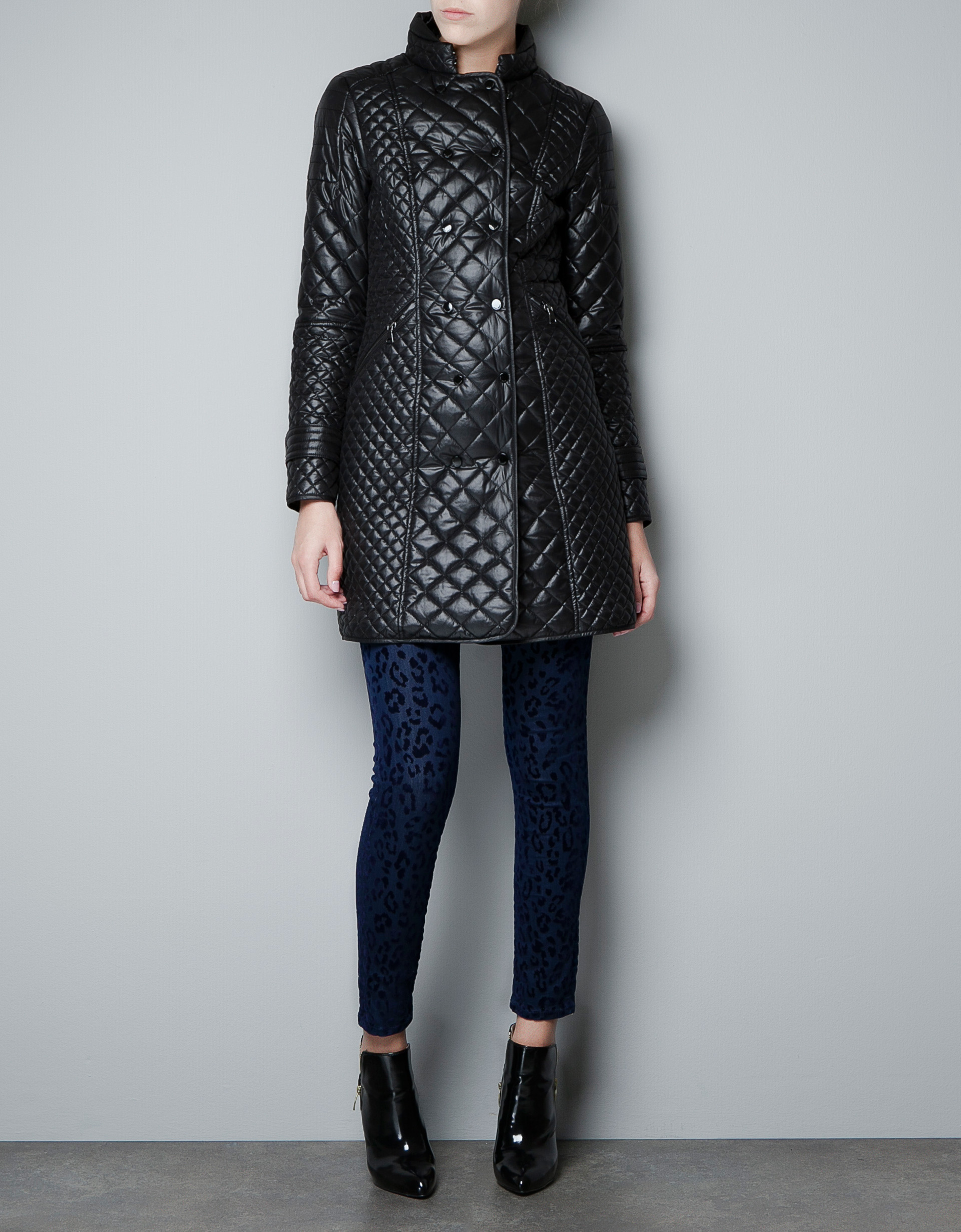 Zara Long Quilted Jacket in Black   Lyst