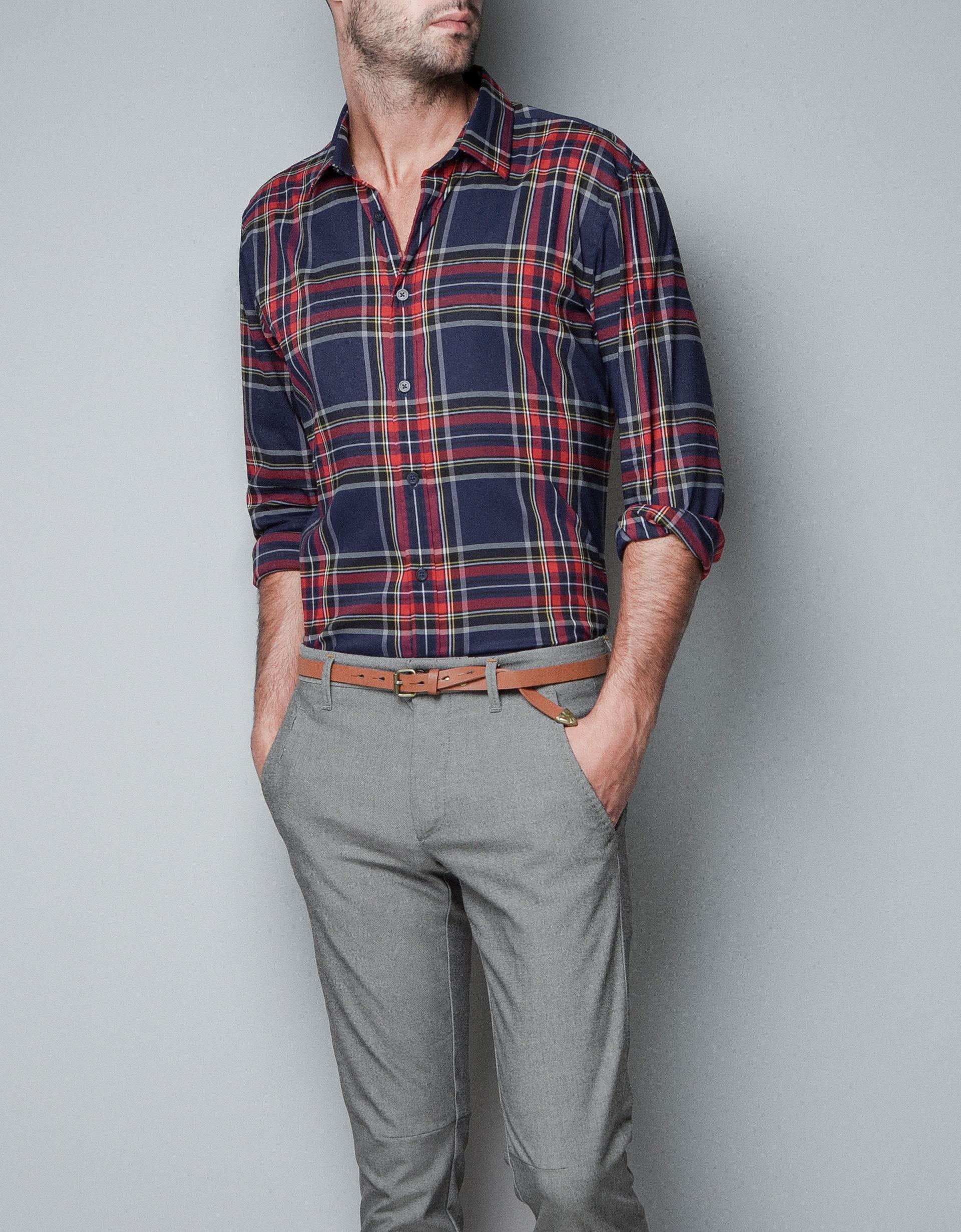 Zara check shirt in blue for men lyst for Zara mens shirts sale