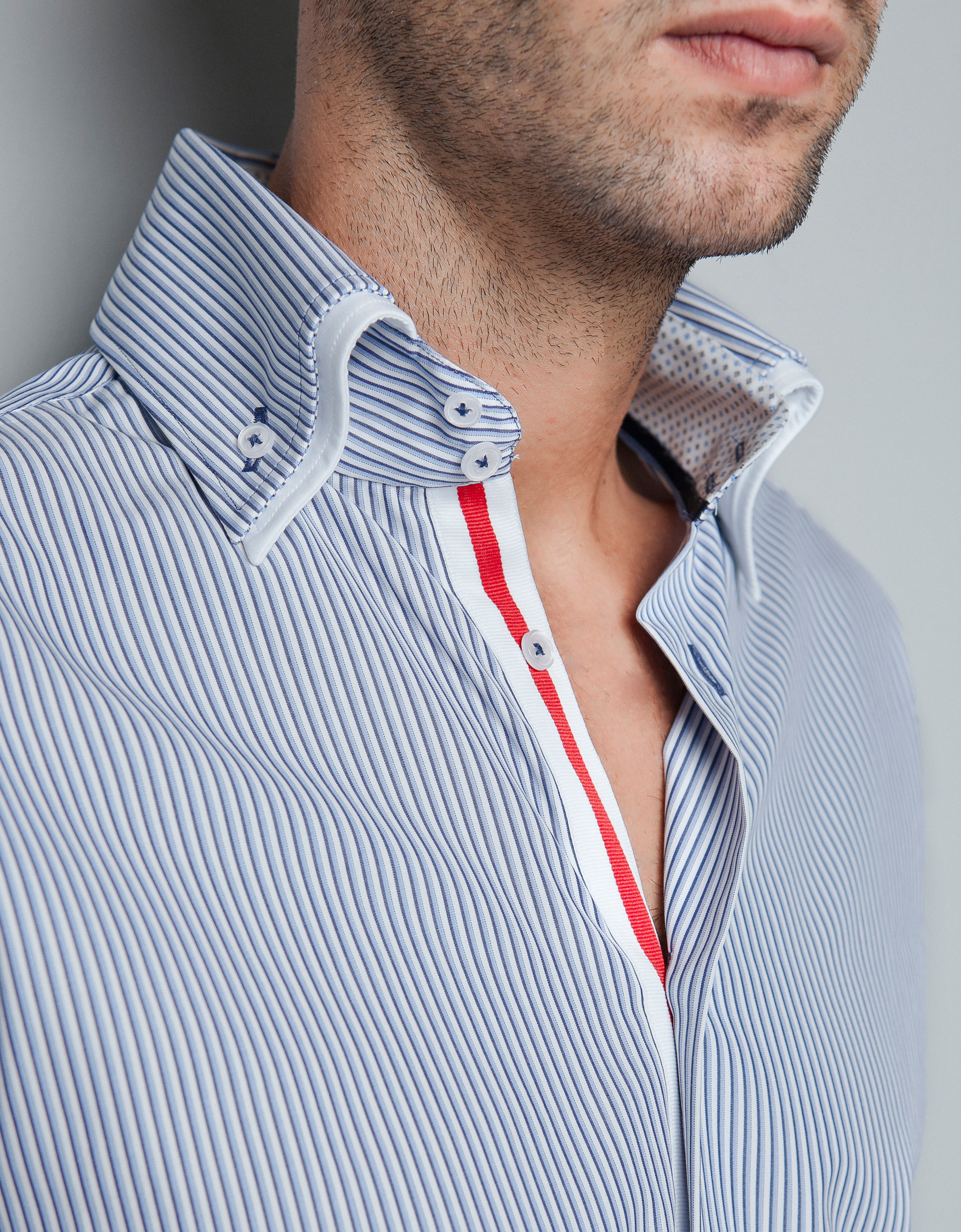 Zara striped shirt with mock layer collar in blue for men for Blue striped shirt mens