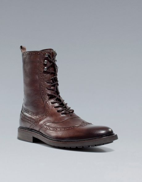 Zara Combat Boot In Brown For Men Lyst