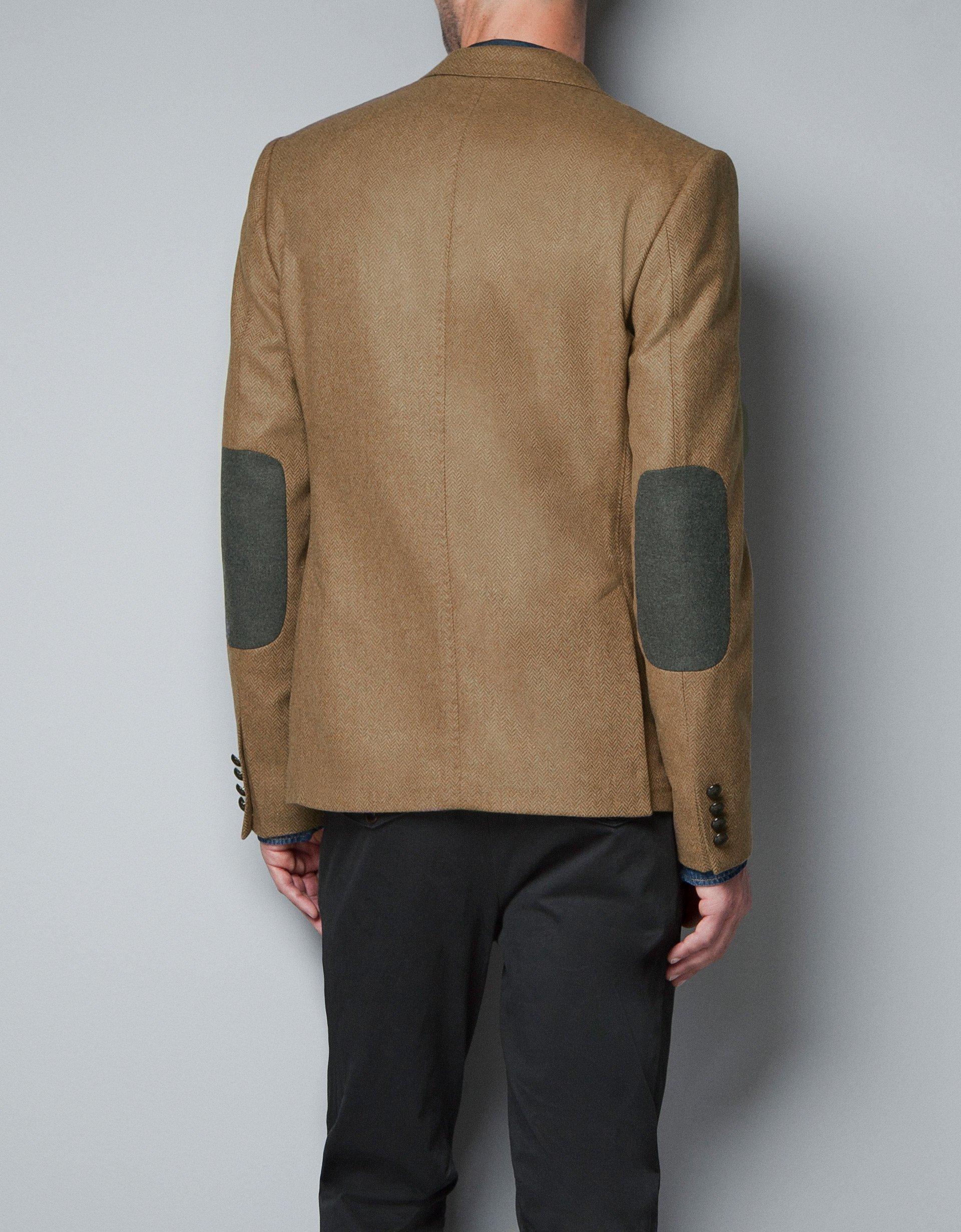 zara herringbone blazer in brown for men lyst. Black Bedroom Furniture Sets. Home Design Ideas