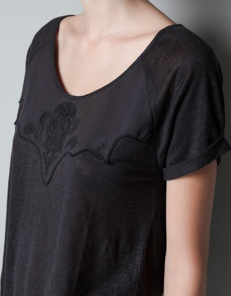 Zara skull embroidery linen t shirt in black coal lyst