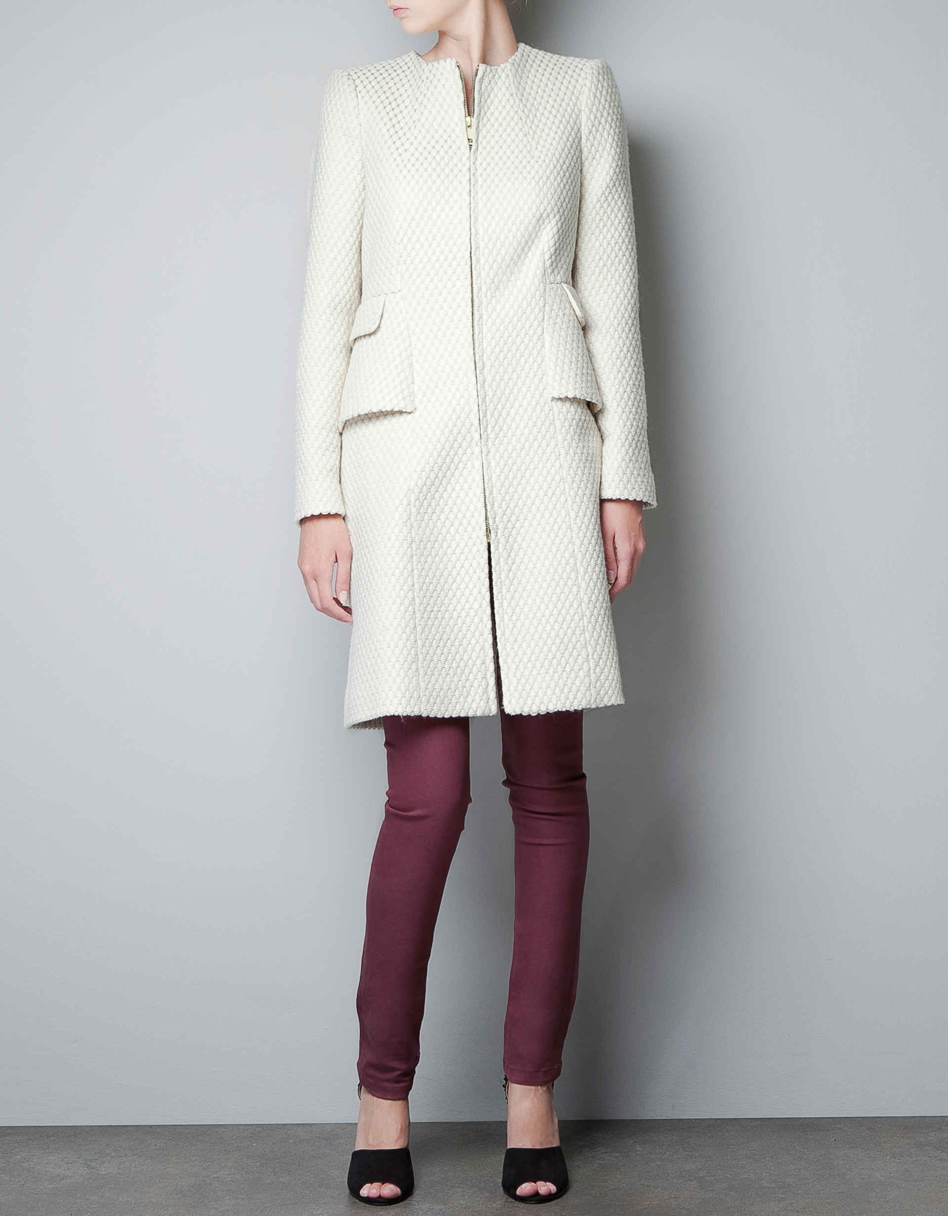 Zara Fantasy Wool Jacquard Coat in White | Lyst
