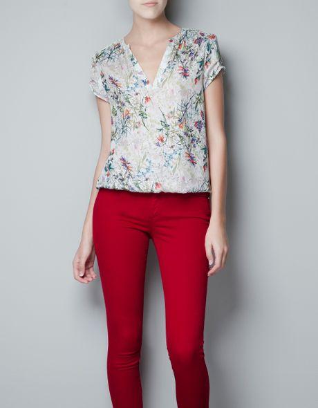 Zara Floral Blouse Ebay 9