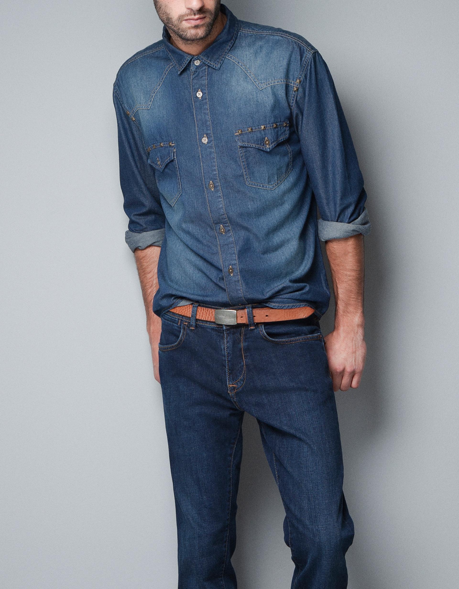 Zara studded denim shirt in blue for men indigo lyst for Zara mens shirts sale