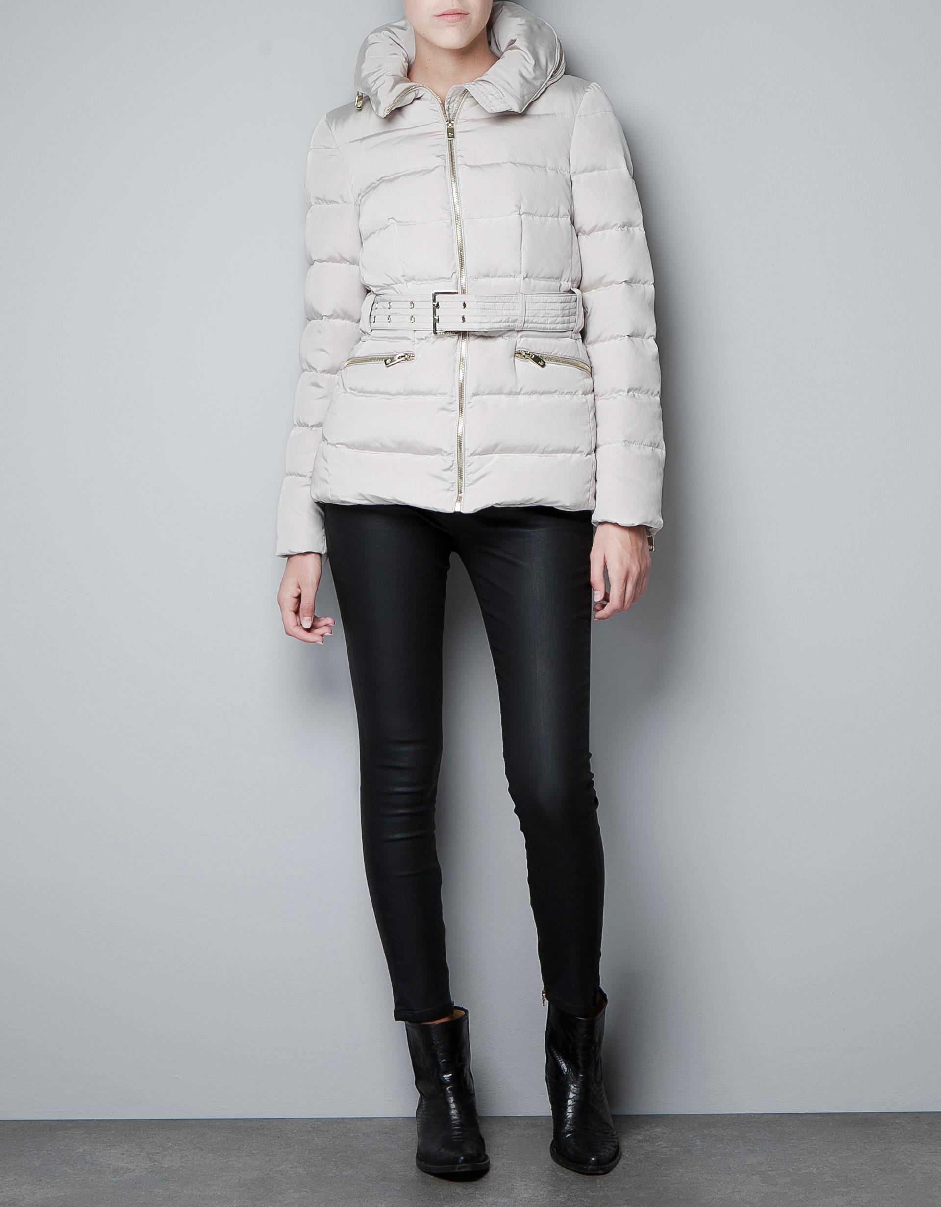 zara short puffer jacket with wraparound collar in white. Black Bedroom Furniture Sets. Home Design Ideas