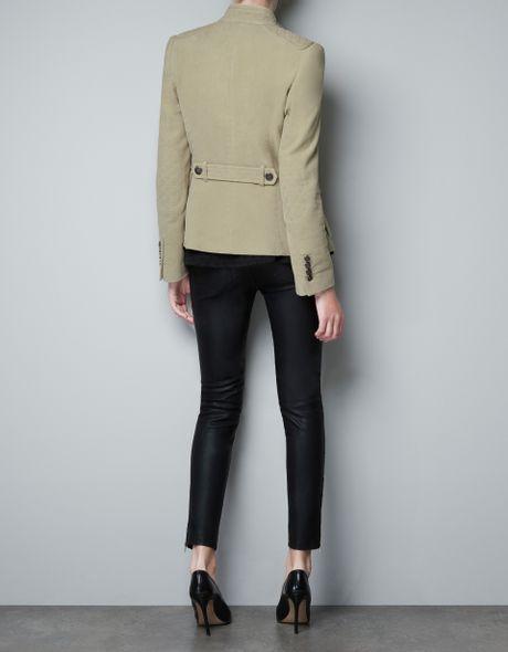Zara Quilted Velveteen Jacket In Green Light Green Lyst