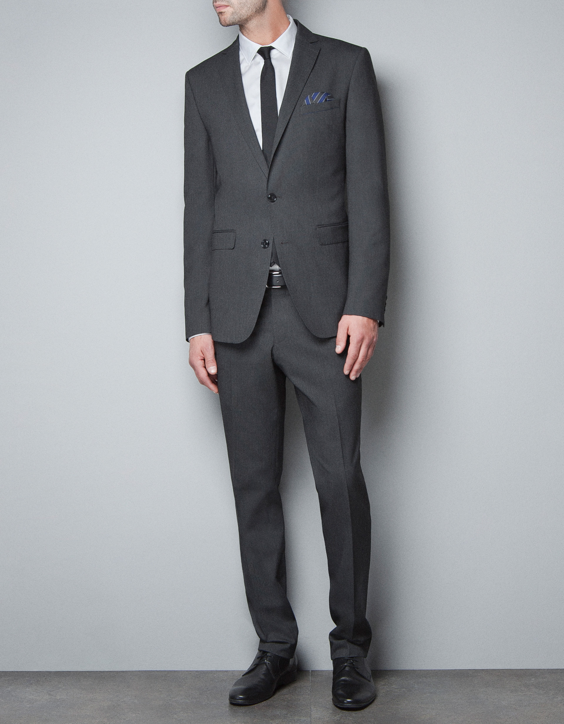 Zara Diagonal Weave Trousers In Gray For Men | Lyst