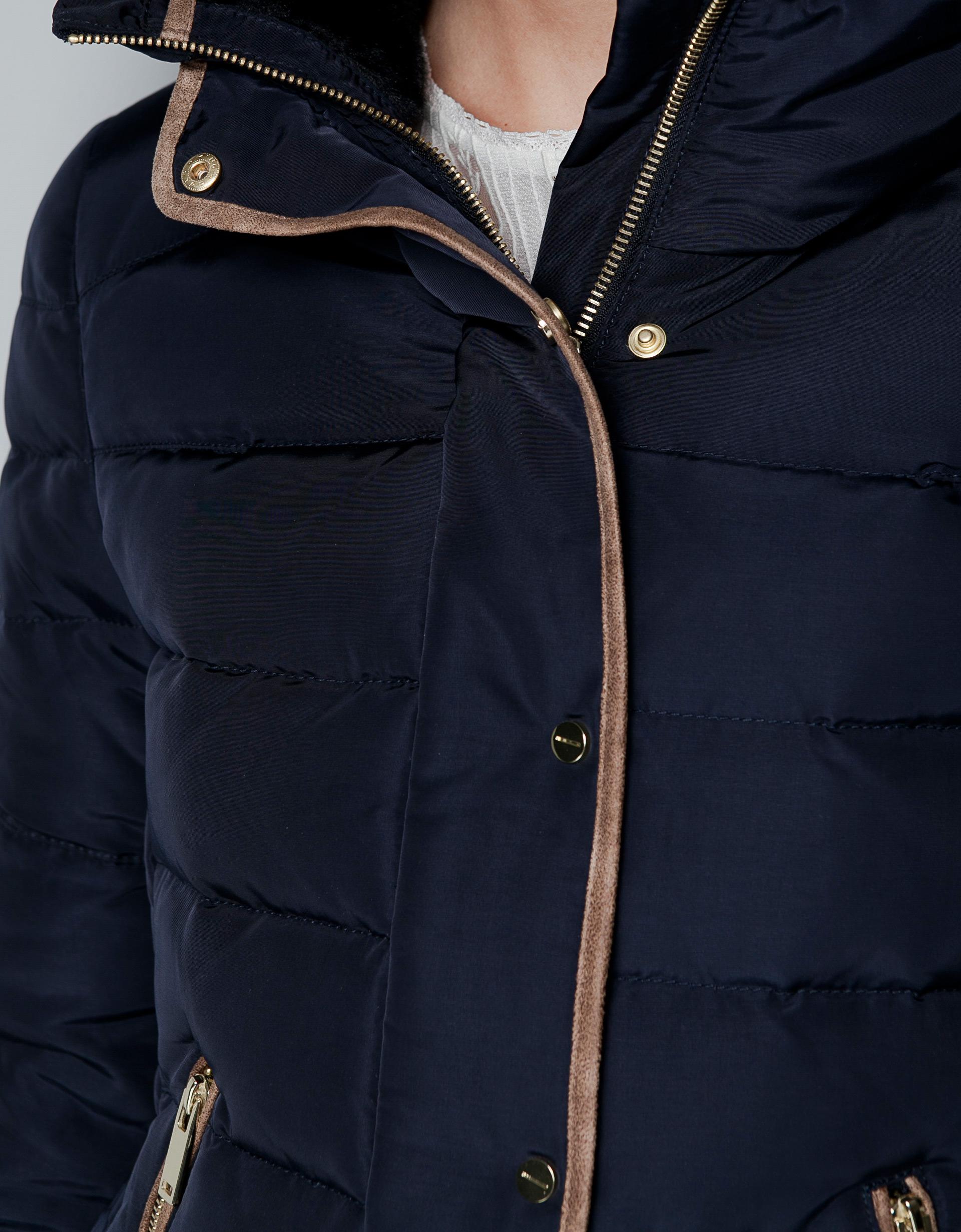 Zara Short Puffer Jacket with Fur Collar in Blue | Lyst