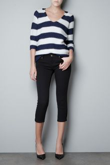 Zara Striped Moss Stitch Sweater - Lyst