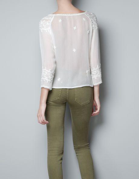 Zara Pearl Embroidered Blouse 106