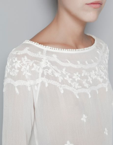 Zara Blouse Embroidered With Flowers And Pearls In White