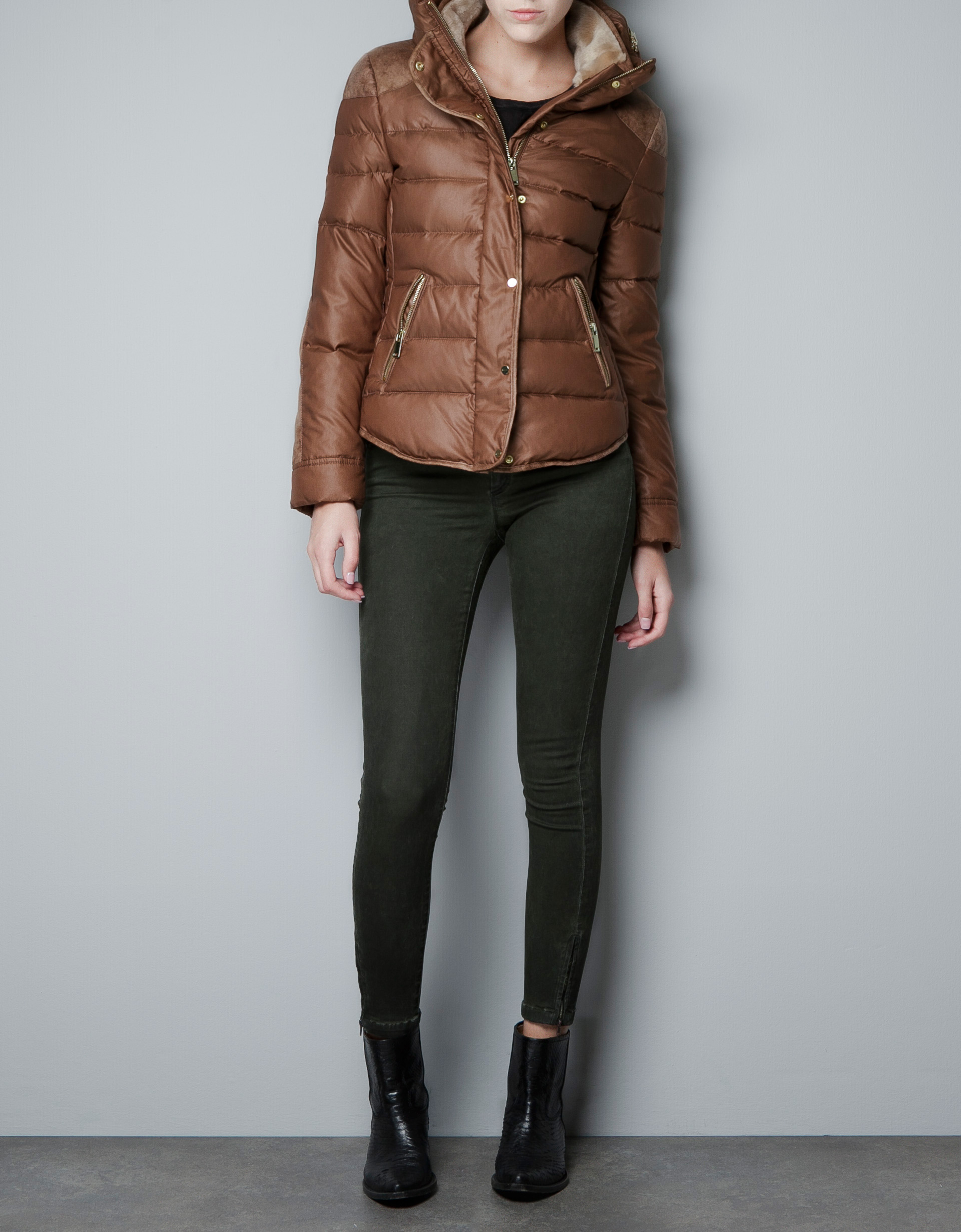 Zara Combined Short Puffer Jacket in Brown | Lyst